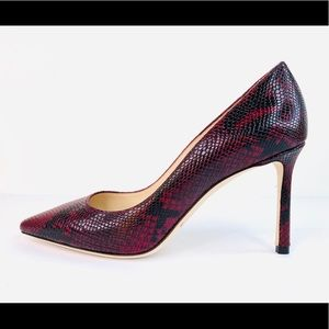 Jimmy Choo Romy Bordeaux 85mm Snake Printed Pumps